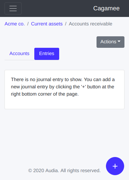 New journal entry button on Cagamee