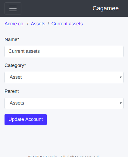 Ledger account edit form on Cagamee