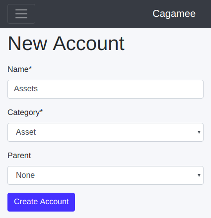New ledger account form on Cagamee