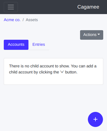 New child ledger account button on Cagamee